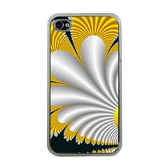 Fractal Gold Palm Tree On Black Background Apple Iphone 4 Case (clear)