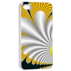 Fractal Gold Palm Tree On Black Background Apple Iphone 4/4s Seamless Case (white)