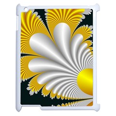 Fractal Gold Palm Tree On Black Background Apple Ipad 2 Case (white)