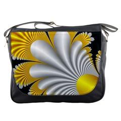 Fractal Gold Palm Tree On Black Background Messenger Bags