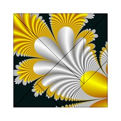 Fractal Gold Palm Tree On Black Background Acrylic Tangram Puzzle (6  X 6 )