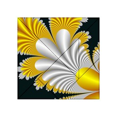 Fractal Gold Palm Tree On Black Background Acrylic Tangram Puzzle (4  x 4 )