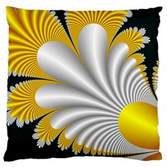 Fractal Gold Palm Tree On Black Background Large Cushion Case (Two Sides)