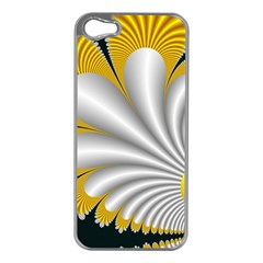 Fractal Gold Palm Tree On Black Background Apple Iphone 5 Case (silver)