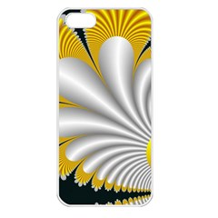 Fractal Gold Palm Tree On Black Background Apple iPhone 5 Seamless Case (White)