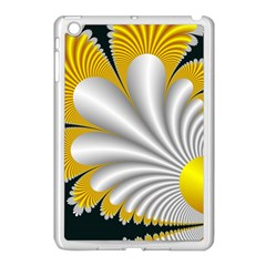 Fractal Gold Palm Tree On Black Background Apple iPad Mini Case (White)
