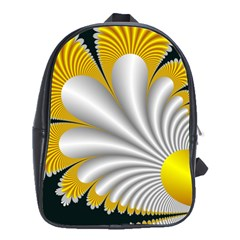 Fractal Gold Palm Tree On Black Background School Bags (XL)