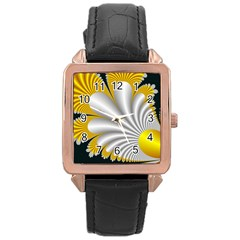 Fractal Gold Palm Tree On Black Background Rose Gold Leather Watch
