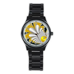 Fractal Gold Palm Tree On Black Background Stainless Steel Round Watch