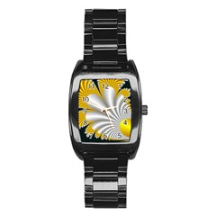 Fractal Gold Palm Tree On Black Background Stainless Steel Barrel Watch