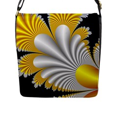 Fractal Gold Palm Tree On Black Background Flap Messenger Bag (L)