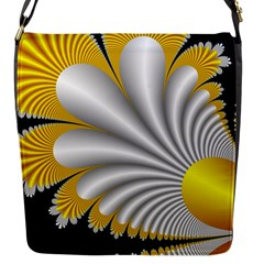 Fractal Gold Palm Tree On Black Background Flap Messenger Bag (s)