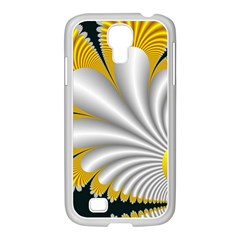 Fractal Gold Palm Tree On Black Background Samsung GALAXY S4 I9500/ I9505 Case (White)