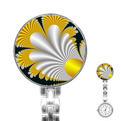 Fractal Gold Palm Tree On Black Background Stainless Steel Nurses Watch