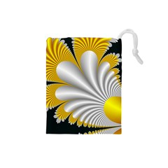 Fractal Gold Palm Tree On Black Background Drawstring Pouches (Small)