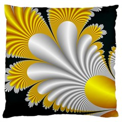 Fractal Gold Palm Tree On Black Background Standard Flano Cushion Case (one Side)