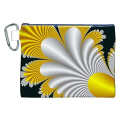 Fractal Gold Palm Tree On Black Background Canvas Cosmetic Bag (xxl)