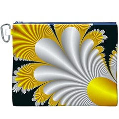Fractal Gold Palm Tree On Black Background Canvas Cosmetic Bag (xxxl)