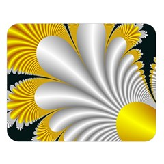 Fractal Gold Palm Tree On Black Background Double Sided Flano Blanket (Large)