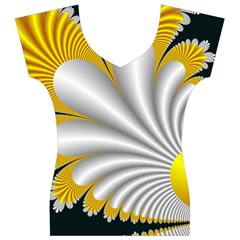 Fractal Gold Palm Tree On Black Background Women s V-Neck Cap Sleeve Top
