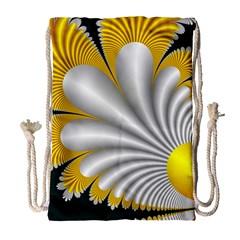 Fractal Gold Palm Tree On Black Background Drawstring Bag (Large)