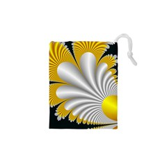 Fractal Gold Palm Tree On Black Background Drawstring Pouches (xs)