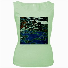 Colorful Reflections In Water Women s Green Tank Top