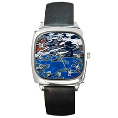 Colorful Reflections In Water Square Metal Watch