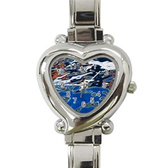 Colorful Reflections In Water Heart Italian Charm Watch