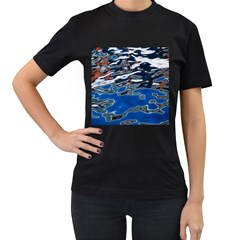 Colorful Reflections In Water Women s T Shirt (black) (two Sided)