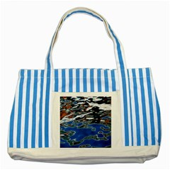 Colorful Reflections In Water Striped Blue Tote Bag