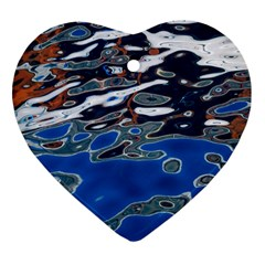 Colorful Reflections In Water Heart Ornament (two Sides)