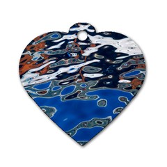 Colorful Reflections In Water Dog Tag Heart (two Sides)