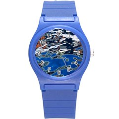Colorful Reflections In Water Round Plastic Sport Watch (s)