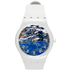 Colorful Reflections In Water Round Plastic Sport Watch (m)