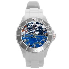 Colorful Reflections In Water Round Plastic Sport Watch (l)
