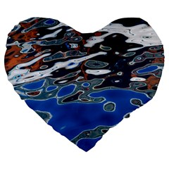 Colorful Reflections In Water Large 19  Premium Heart Shape Cushions