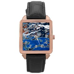 Colorful Reflections In Water Rose Gold Leather Watch
