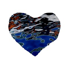 Colorful Reflections In Water Standard 16  Premium Flano Heart Shape Cushions