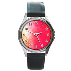 Abstract Red And Gold Ink Blot Gradient Round Metal Watch