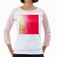 Abstract Red And Gold Ink Blot Gradient Girly Raglans