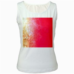 Abstract Red And Gold Ink Blot Gradient Women s White Tank Top