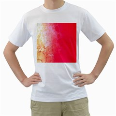 Abstract Red And Gold Ink Blot Gradient Men s T Shirt (white) (two Sided)