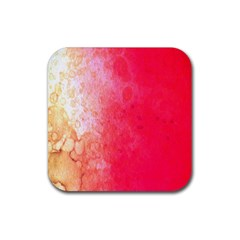 Abstract Red And Gold Ink Blot Gradient Rubber Coaster (square)