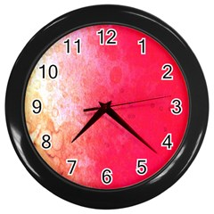 Abstract Red And Gold Ink Blot Gradient Wall Clocks (Black)