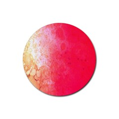 Abstract Red And Gold Ink Blot Gradient Rubber Coaster (round)