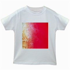 Abstract Red And Gold Ink Blot Gradient Kids White T Shirts