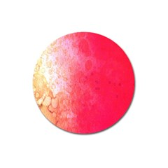 Abstract Red And Gold Ink Blot Gradient Magnet 3  (round)