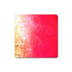 Abstract Red And Gold Ink Blot Gradient Square Magnet