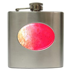 Abstract Red And Gold Ink Blot Gradient Hip Flask (6 Oz)